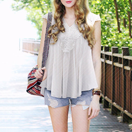 Hollow Sleeveless Lace Top