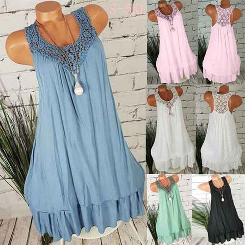 Loose V Neck Sleeveless Ruffle Side Dresses