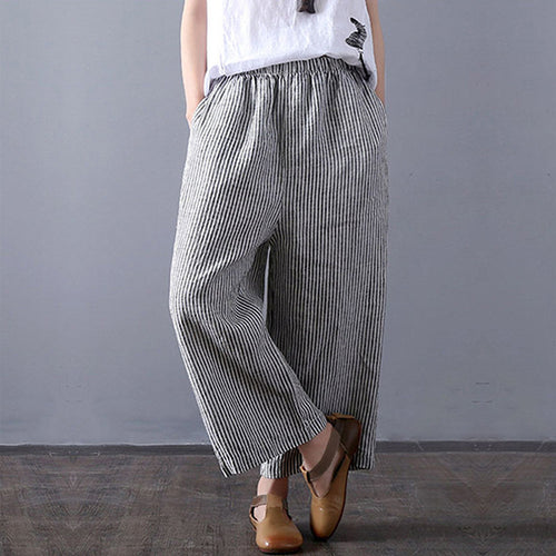 Plus Size Stripe Loose Casual Pants