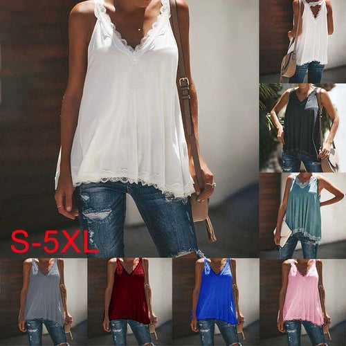 Plus Size Lace Side V Neck Vests