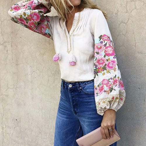 Tassel Flower Printing V Neck Blouse