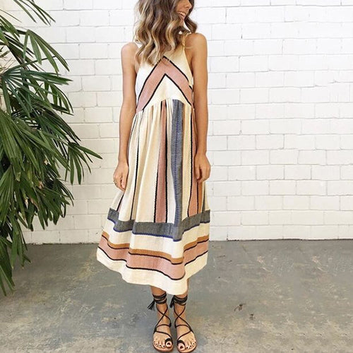 Casual Stripe Printed Sleeveless Dress
