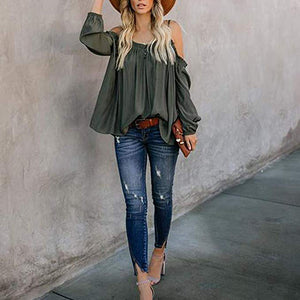 Sexy Pure Color Strapless Shoulder Blouse