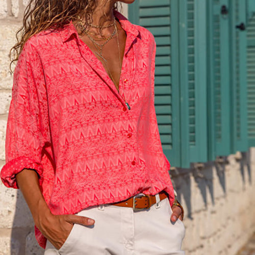 Casual Loose Lapel Printing Blouse