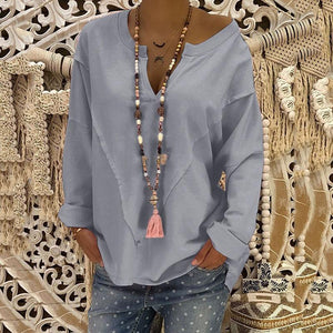 Plus Size Solid Color Casual V-Neck Blouse