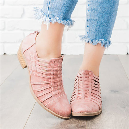 Women Plus Size Booties with Zipper