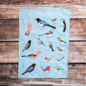 Garden bird tea towel