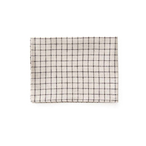 Linen kitchen towel-beige black plaid