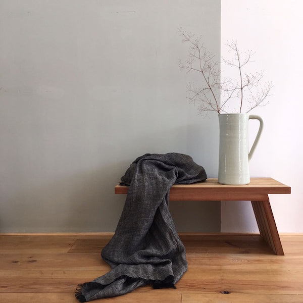 Large linen scarf- coal