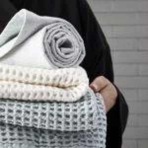 Big organic cotton waffle blanket- White