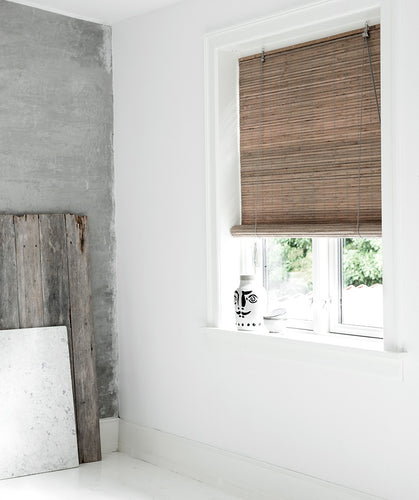 Grey stained blackout bamboo blinds Color& Co