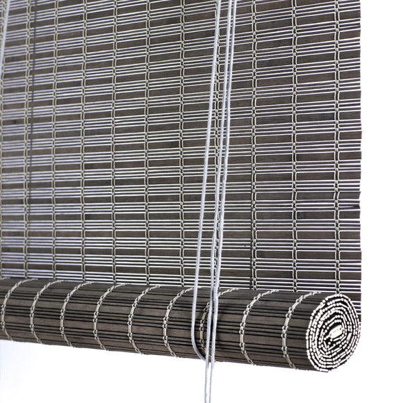 Grey brown thick bamboo blinds Color& Co