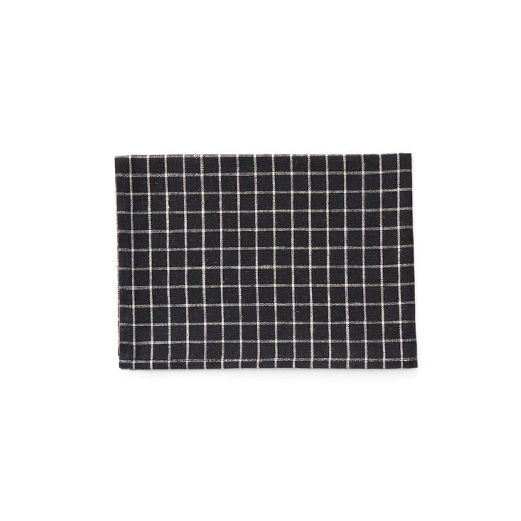 Linen kitchen towel-Black plaid
