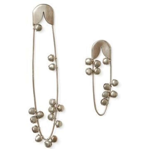 Silver safety pin with bells M
