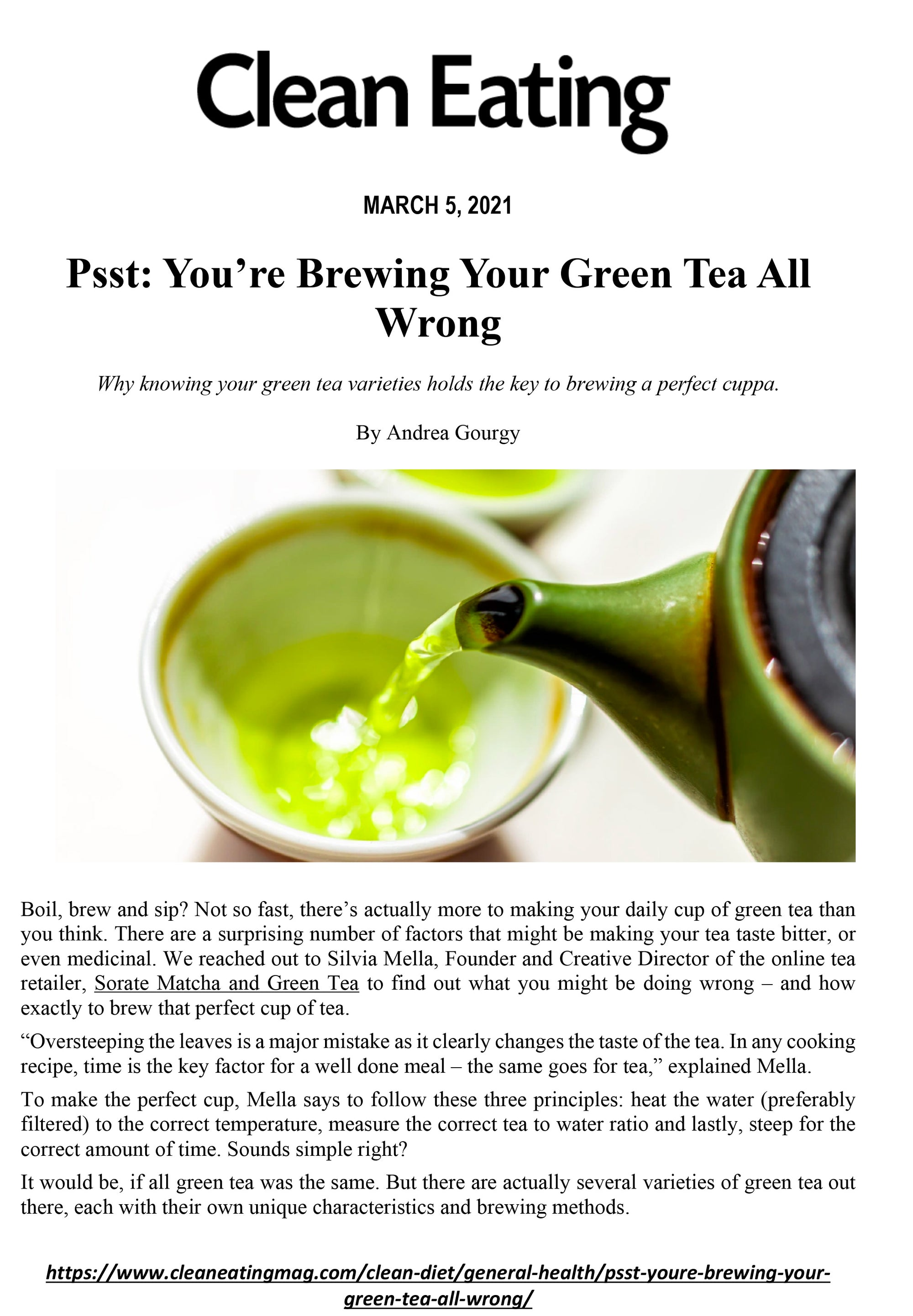 Sorate Clean Eating Magazine Matcha and green tea brew