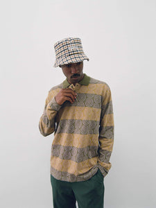 Big Logo Plaid Checker Bucket Hat, Swirl Stripe Polo, and Bryan Pant