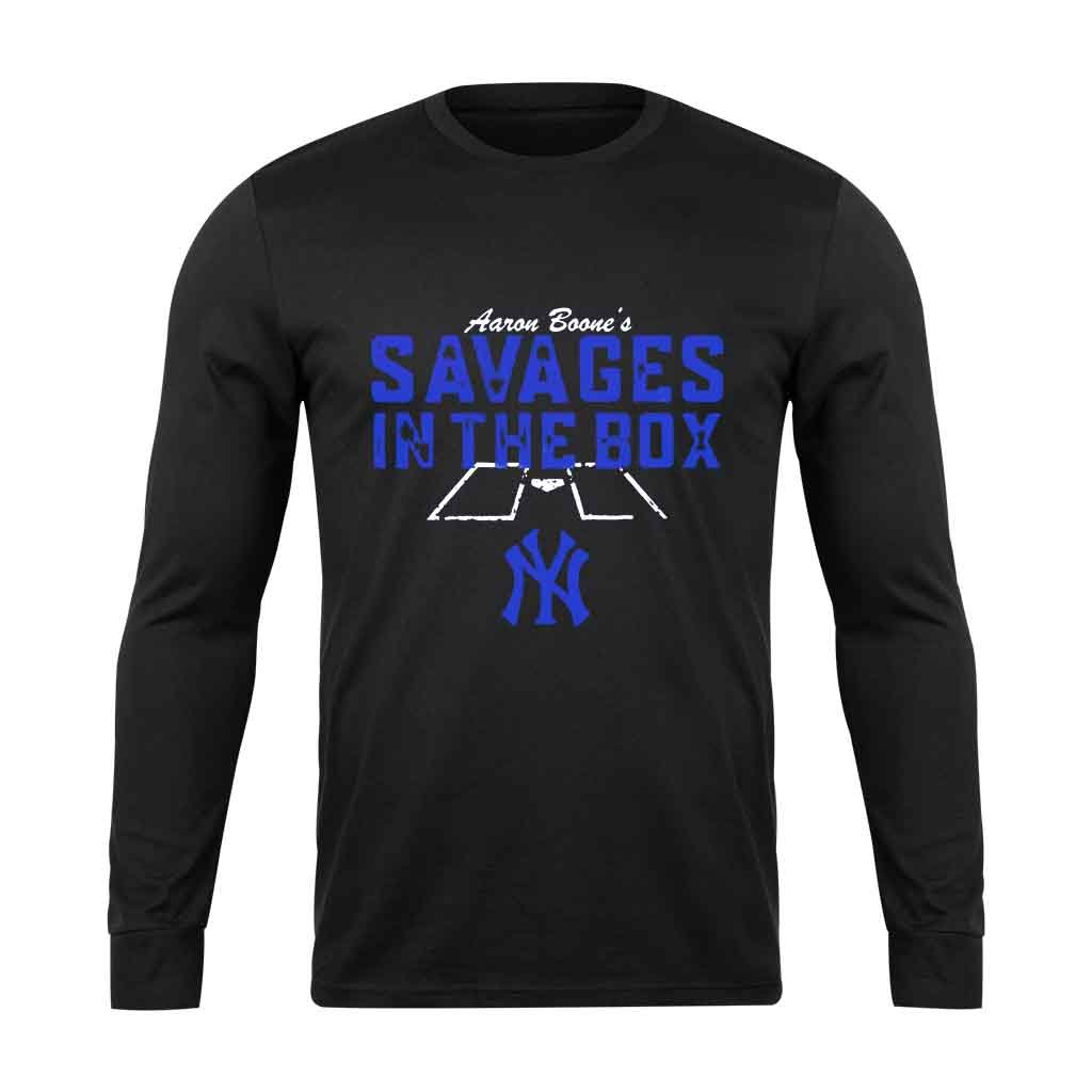 Aaron Boones Savages In The Box For Yankees Fan Long Sleeve T-Shirt