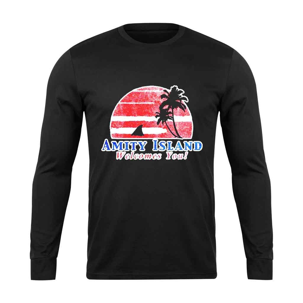 Amity Island Welcomes You Jaws Retro Movie Long Sleeve T-Shirt