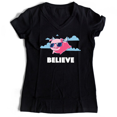 Believe Pig Angel Women's V-Neck Tee T-Shirt