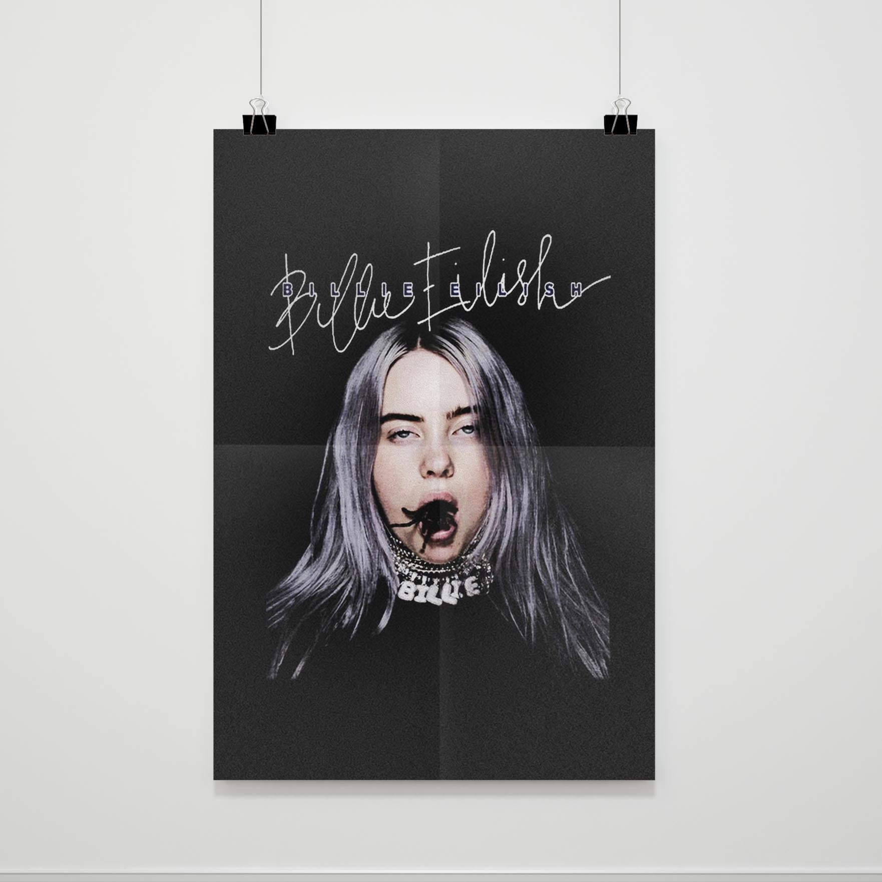 Billie Eilish Bad Guy Spider In The Mouth Poster