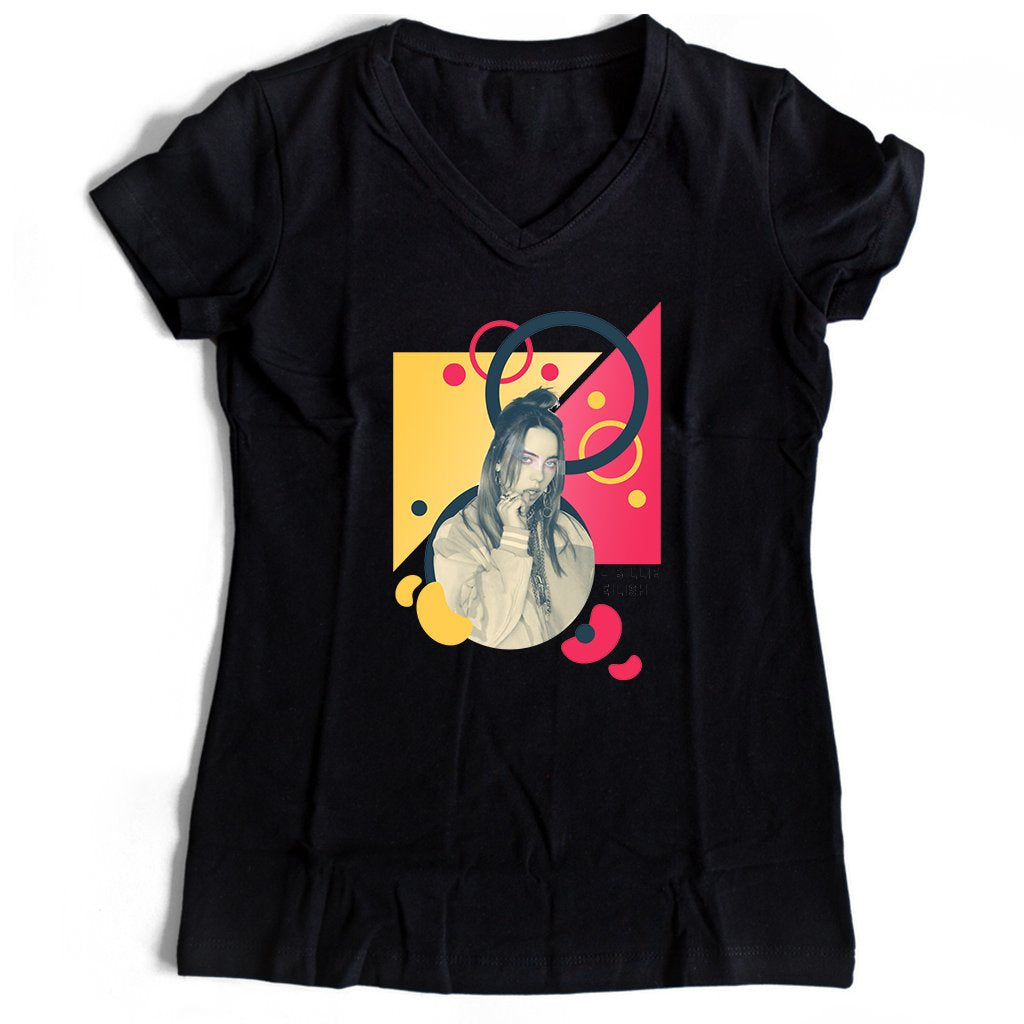 Billie Eilish Music Graphic Women's V-Neck Tee T-Shirt