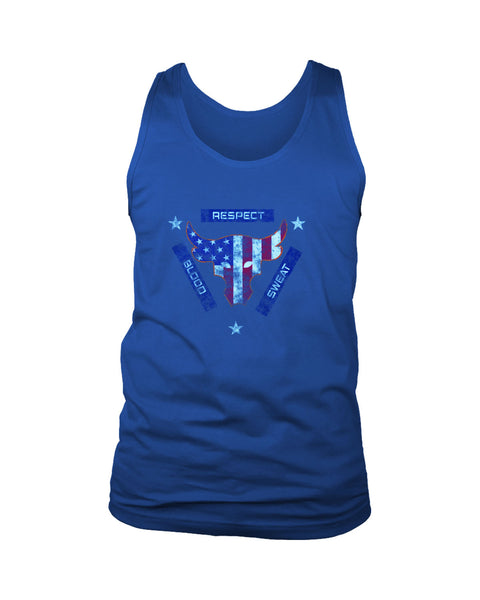 Blood Sweat Respect Usa Flag The Rock Under Armour Project Grunge Men's Tank Top