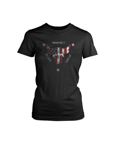 Blood Sweat Respect Usa Flag The Rock Under Armour Project Grunge  Women's T-Shirt