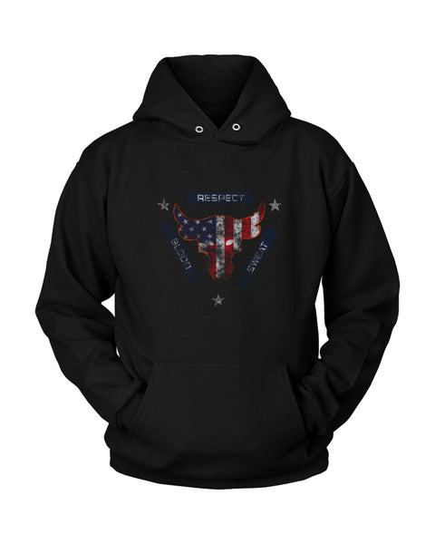 Blood Sweat Respect Usa Flag The Rock Under Armour Project Grunge Unisex Hoodie