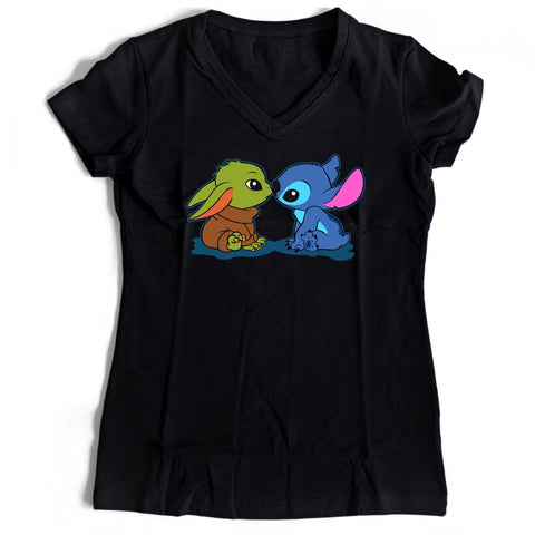 Cute Kawaii Babies Yoda And Stitch Women's V-Neck Tee T-Shirt