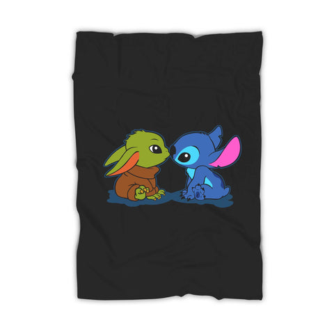 Cute Kawaii Babies Yoda And Stitch Blanket
