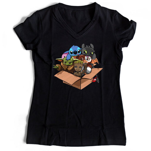 Cute Kawaii Yoda Groot Stitch Toothless Mogwai Women's V-Neck Tee T-Shirt