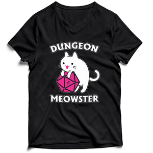 Dungeon Meowster Funny Nerdy Gamer Cat D20 Rpg Men's V-Neck Tee T-Shirt