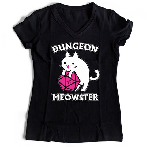 Dungeon Meowster Funny Nerdy Gamer Cat D20 Rpg Women's V-Neck Tee T-Shirt