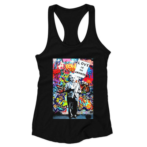 Einstein Love Is The Answer Woman's Racerback Tank Top