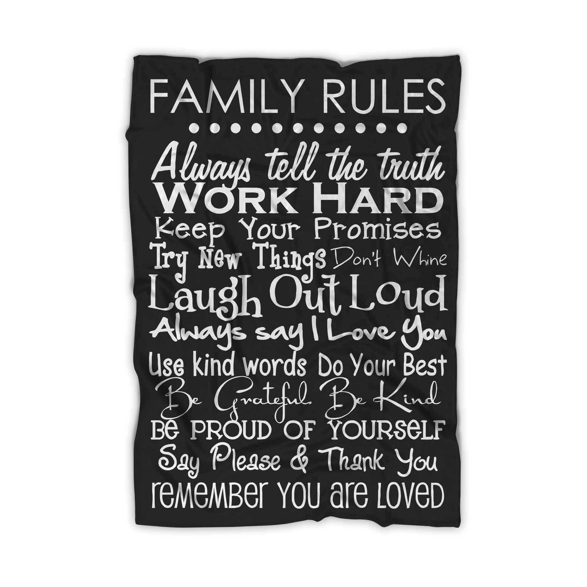 Family Rules Quotes Blanket