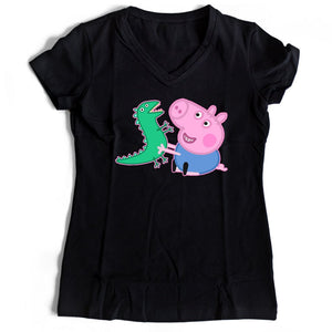 George Pig And Dinosaur Women's V-Neck Tee T-Shirt