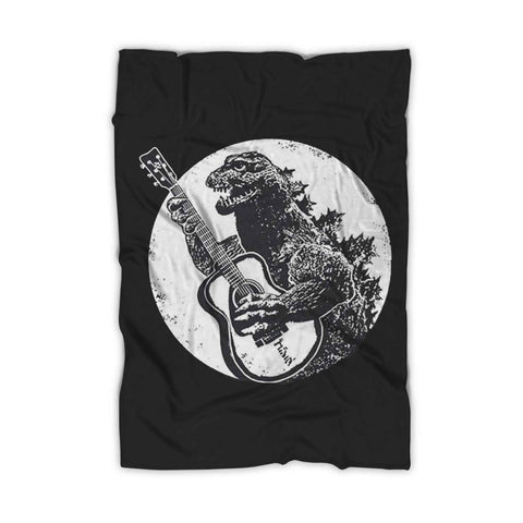 Godzilla Playing Guitar Blanket