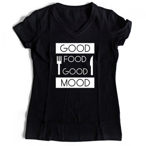 Good Food Good Mood Women's V-Neck Tee T-Shirt
