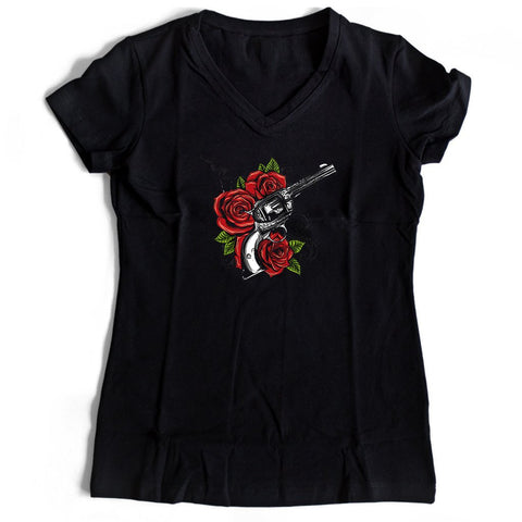 Guns And Rose Women's V-Neck Tee T-Shirt