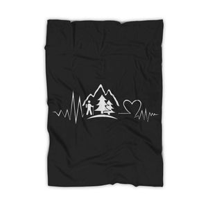 Hiking Travel Heartbeat Mountain Blanket
