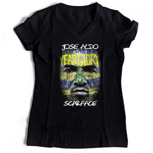 Jose Aldo Scarface Women's V-Neck Tee T-Shirt