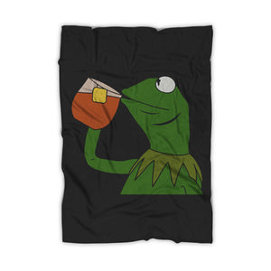 Kermit The Frog Sipping Tea Blanket