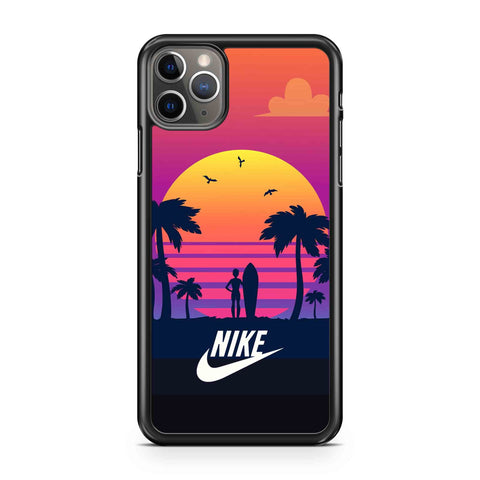 Nike Silhouettes Of Tropical Summer Palm Trees Surfer iPhone Case