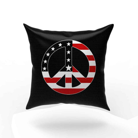 Peace Sign Usa American Flag Pillow Case Cover