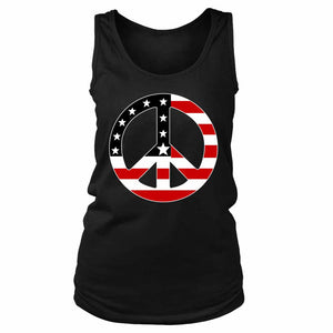 Peace Sign Usa American Flag Women's Tank Top