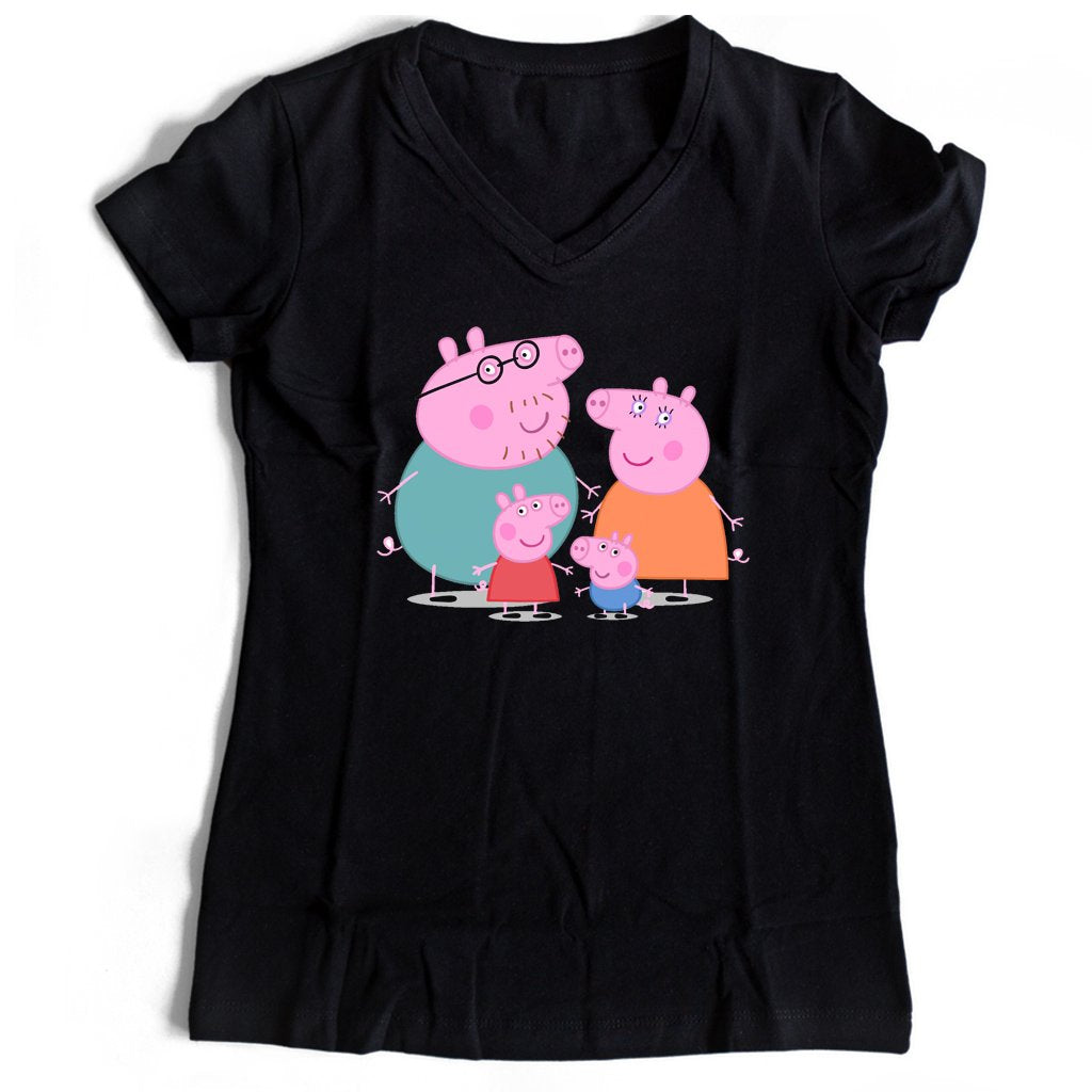 Peppa Pig And Family Women's V-Neck Tee T-Shirt