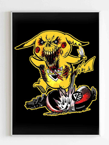 Pikachu The Angry Pokemon Zombie Poster