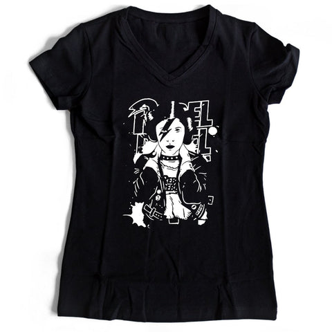 Princess Leia Rebel Rebel Band Star Wars Themed Women's V-Neck Tee T-Shirt