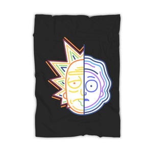Rick And Morty Half Face Colors Blanket