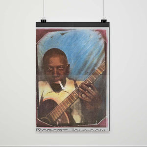 Robert Johnson Blues Guitar Portrait Poster